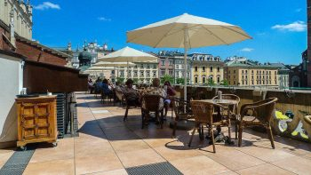 Terrace of Cafe Szal (Frenzy Cafe), Cloth Hall, Main Square, Krakow, Poland