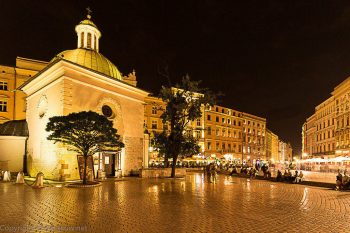 The Main Market Square in Krakow by night