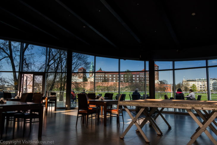 Manggha Museum, Krakow – restaurant inside and view of the Wawel Hill